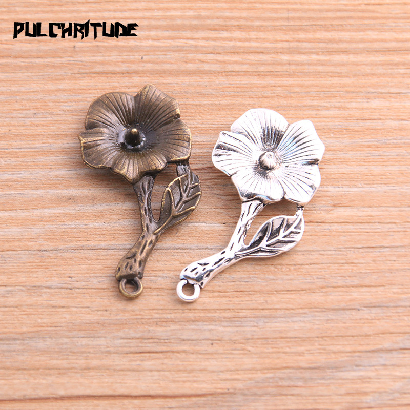 PULCHRITUDE 8pcs 19*39mm 2020 Product Two Color Morning Glory Charms Plant Flower Pendant Jewelry Metal Alloy Jewelry Marking