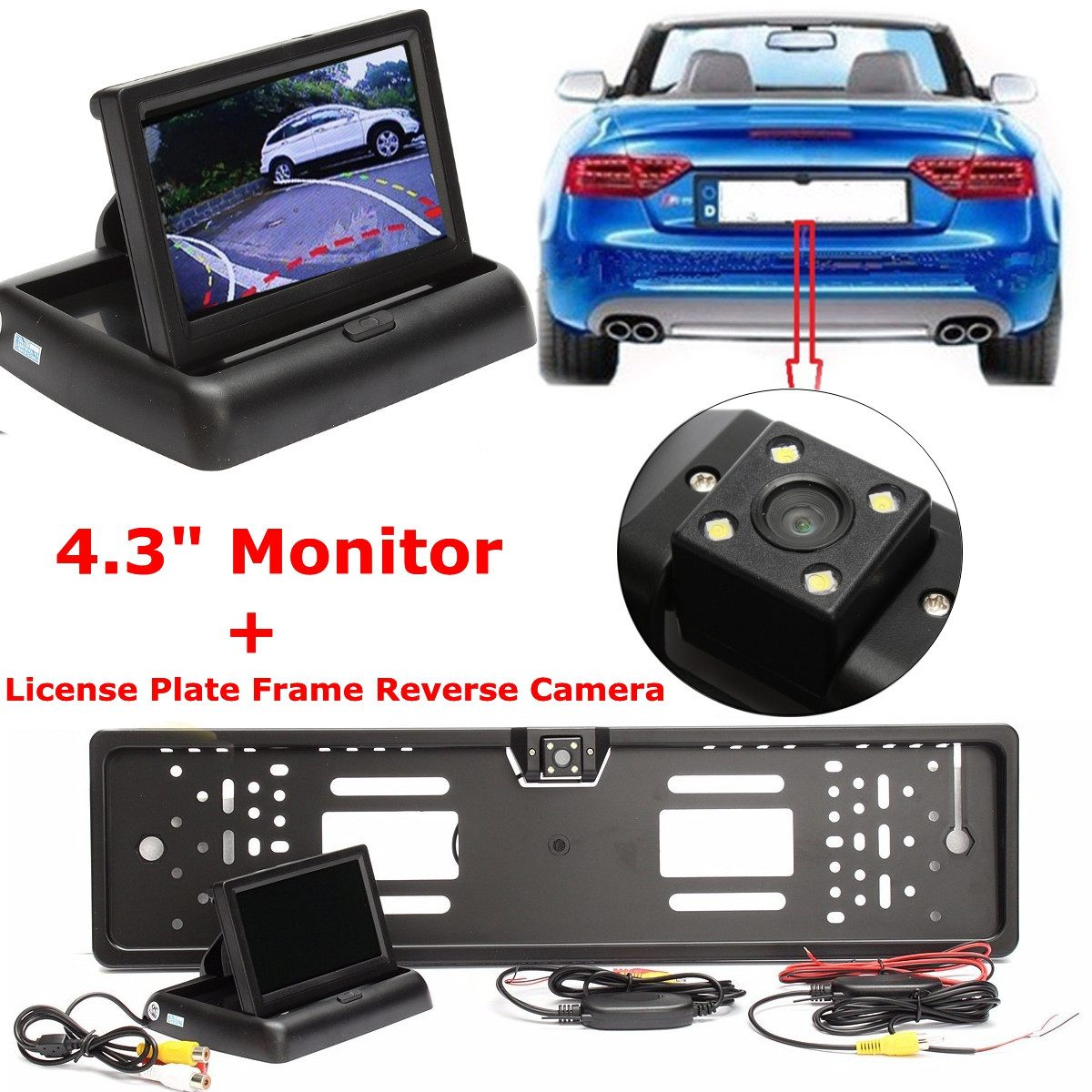 Car CCD HD LED 4.3 Monitor Screen Vehicle Wireless License Plate Frame Reverse Rear View Camera Kits Night Vision Waterproof