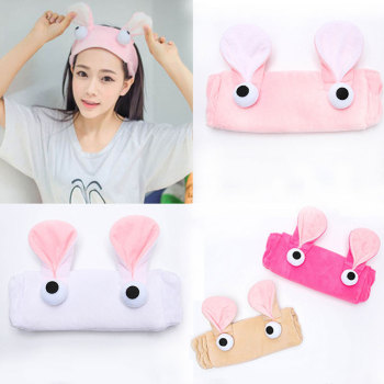 Candy Color Elastic Hair Bands Women Makeup Face Washing Headwrap Plush Cartoon Rabbit Ears Headband Big Eyes Hair Accessories image