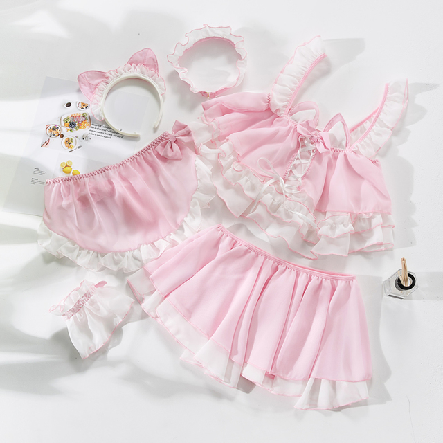 Little Cute Cat Girl Sexy Maid Uniform Temptation Hot Transparent Kawaii Lingerie Ruffle Cosplay Sex Toys Role playing