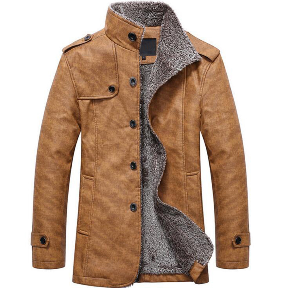 H48d2c6c5e97a482d9eae8a9eeade84c9t Fashion Men's Leather Jacket Top Coat Warm Autumn Winter Casual Pocket Button Thermal Outwear Jumper For Male Men