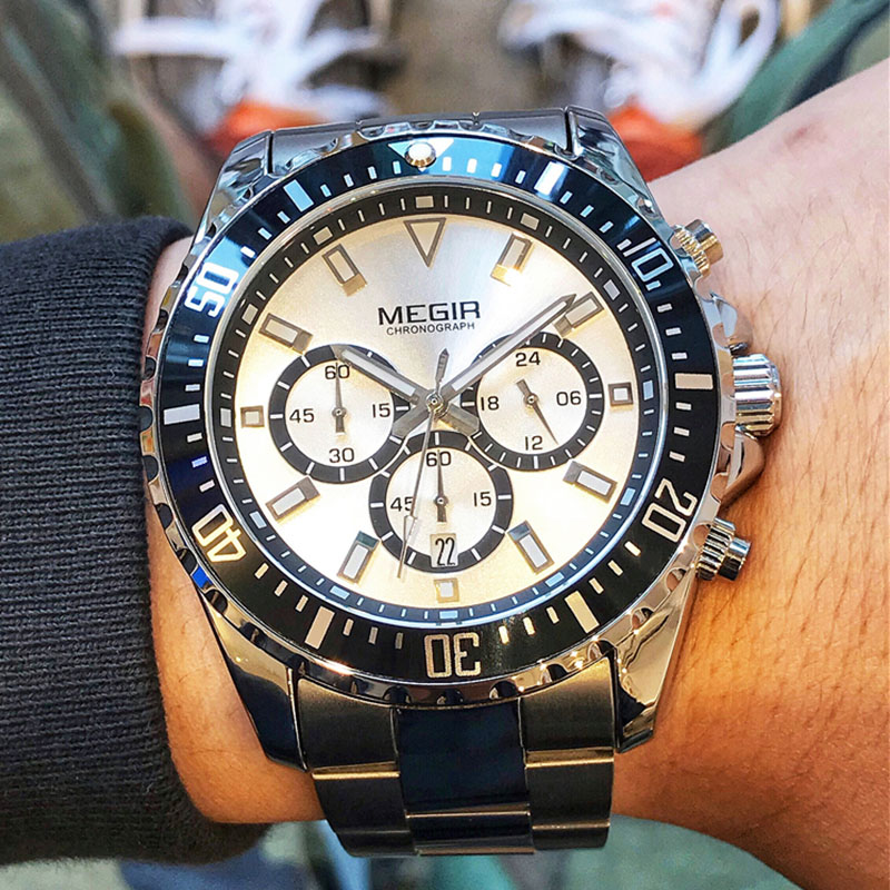 <font><b>MEGIR</b></font> Business Quartz Watch Men Brand Stainless Steel Chronograph Army Military Wrist Watch Clock Relogio Masculino Male image