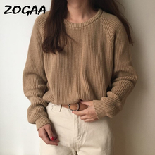 ZOGAA Korean Fashion Ladies Full Sleeve Women Knitting Sweater Solid O-Neck Pullover Jumper Female Loose Hot Sale