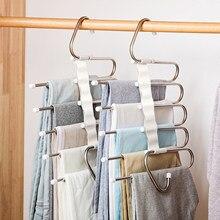 5 em 1 pant rack cabide para roupas prateleiras multifunções armário organizador de armazenamento de aço inoxidável magia cabide