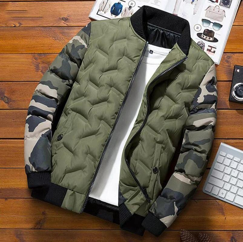 Helisopus Mens Winter Bomber Jacket And Coats Camouflage Patchwork Parkas Thick Warm Overcoat Male Plus Size