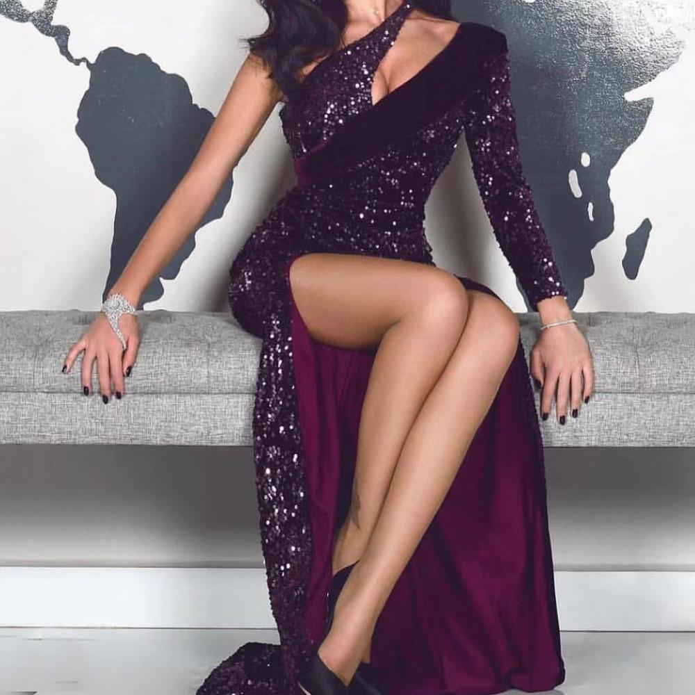Missord 2019 Women Sexy Irregular Neck  One Shoulder Sequin Dresses Female  Elegant High Split Maxi Dress  FT19490