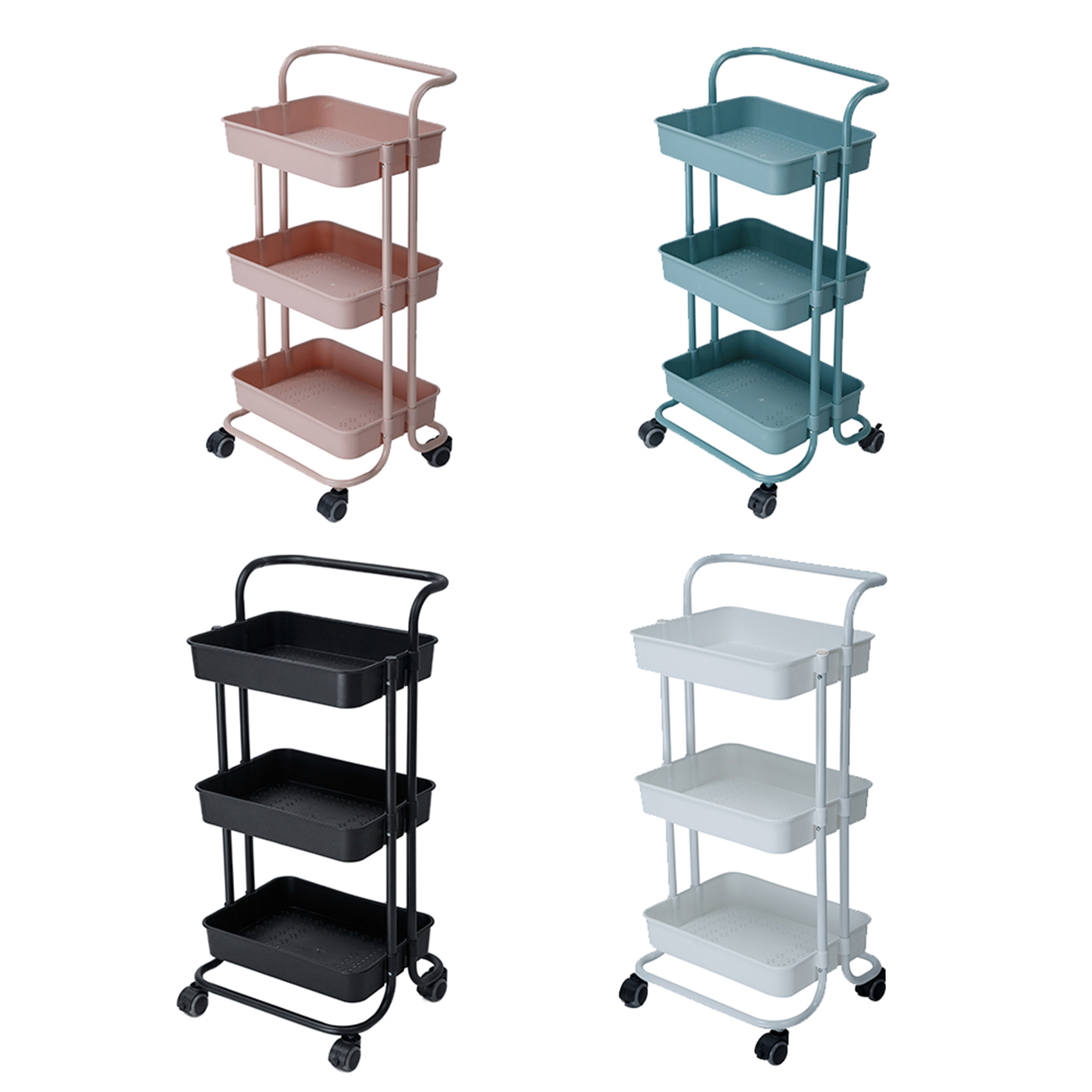 Kitchen 3-Tier Trolley Rolling Storage Cart with Lockable Wheel and Handle Multifunction Heavy Duty for Kitchen Bathroom Office