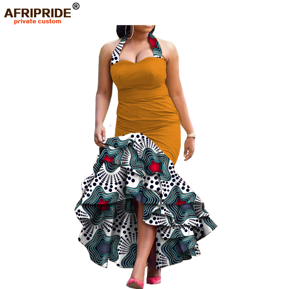 Купить с кэшбэком new spring dress for women african print AFRIPRIDE sleeveless ankle-length 3 layers halter women dress A7225131