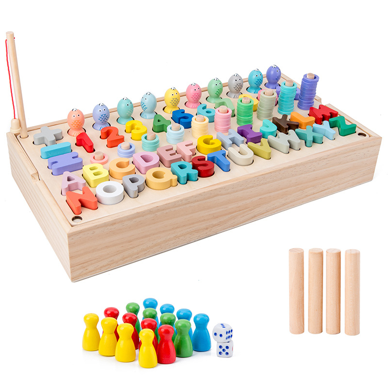 Montessori Material Educational Wooden Toys Geometry Matching Counting Magnetic Fishing Toys Mathematical Education Boy Toys