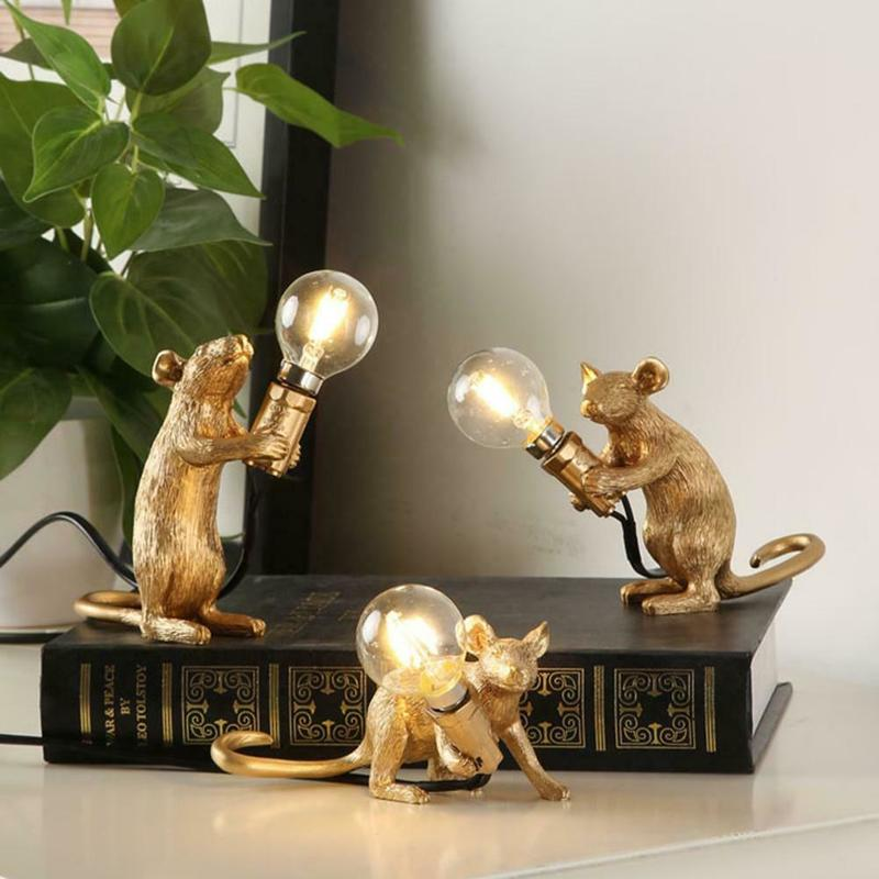 Dreamburgh Nordic Resin Animal Rat Mouse Table Lamp Small Mini Mouse Cute LED Night Lights Home Decor Desk Lights Bedside Lamp