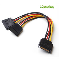 10PCS/Bag SATA 15pin Power Splitter Cable 15 Pin Male to Serial ATA 15pin x 2 Female Y Hard Drive Cables 15CM