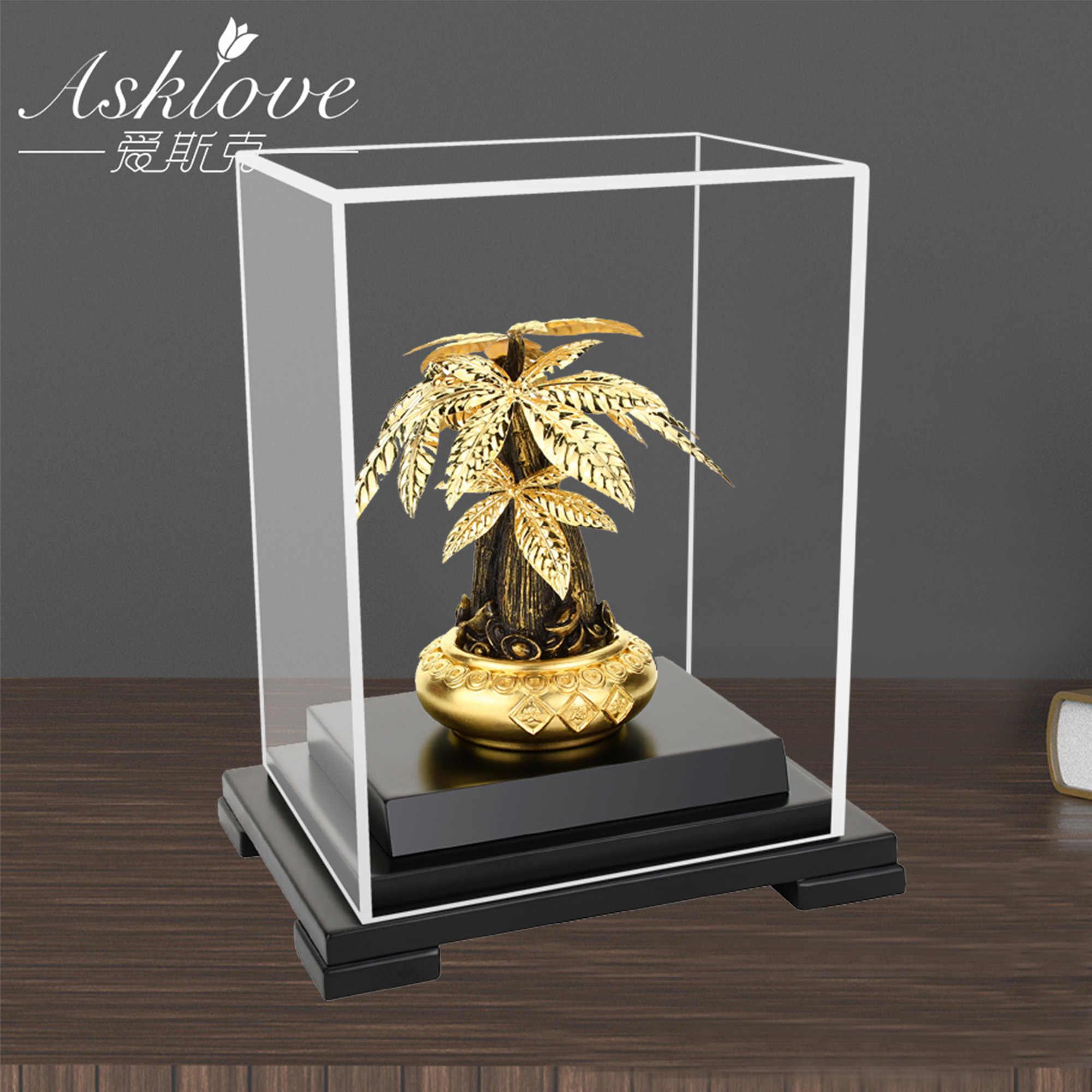 Goud Fortuin Boom Bonsai 24K Goud Folie Ambachten Feng Shui Verzamel Wealth Ornament Geld Boom Standbeeld Home Office Decor 17X13.5X22CM