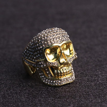 Luxury Gold Colors Rhinestone Skull Rings for Men Motorcycle Party Hip Hop Gold Rings Iced Out Rings Jewelry Accessories