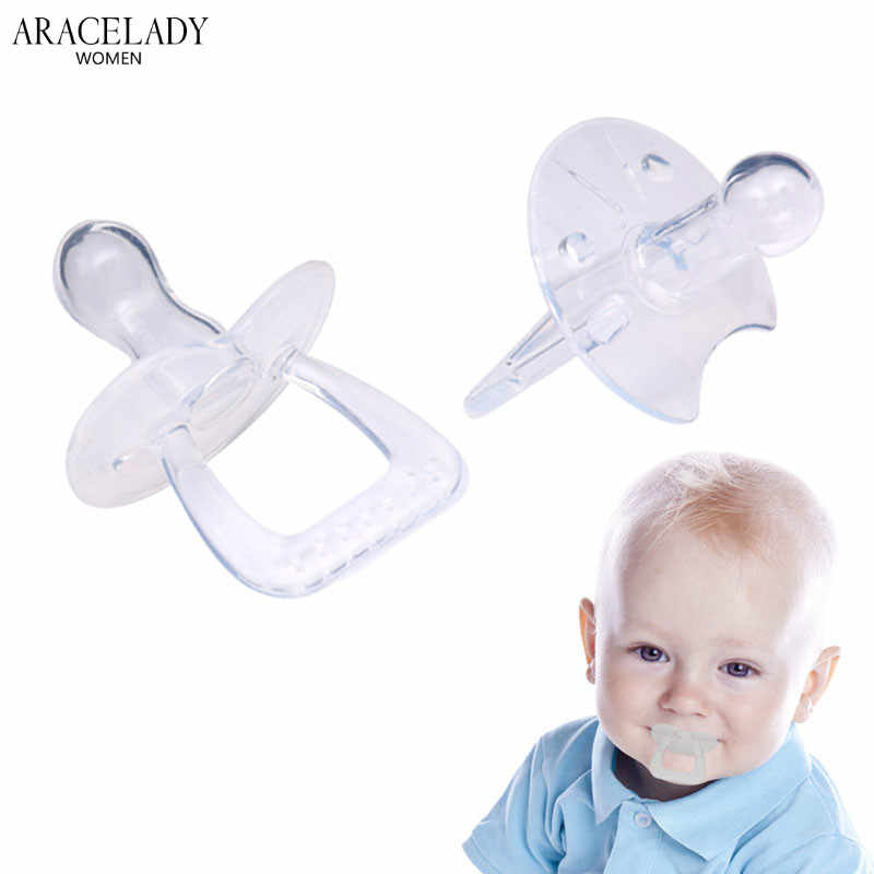 Newborn Baby Soother Round Pacifier Chupeta Attache Tetine Theether Infant Kids Pacifier Silicone Tranparent Teat Nipple Teether