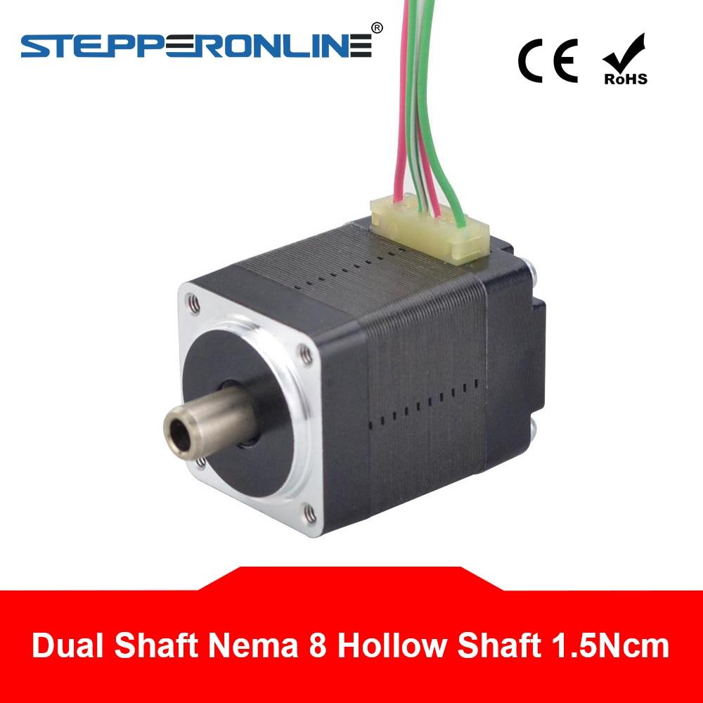 Dual Shaft Nema 8 Stepper Motor Hollow Shaft Bipolar 1.5Ncm(2.12oz.in) 0.49A 4-lead For DIY CNC 3D Printer Motor