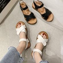 2020 New Fashion Woman Sandals Bohi Vintage Solid Whte Black Flat Shoes