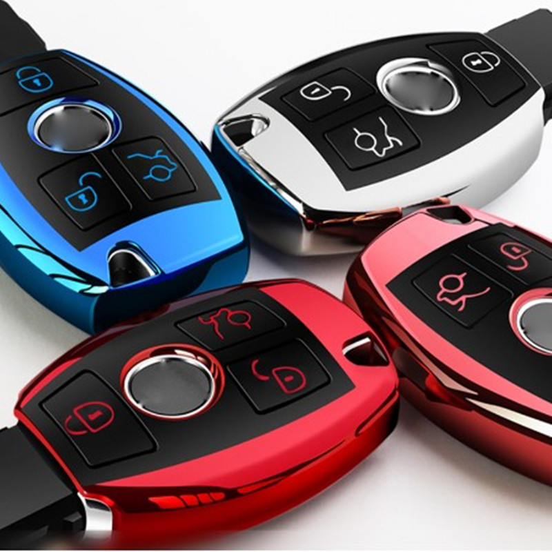 High Quality Chrome TPU Car Key Cover Key Bag fit for Mercedes Benz A C E R M class CLA GLA Key Shell W204 W210 W124 W203 W205