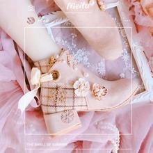 Short-Boots Loli-Shoes Platform Harajuku-Style Girl Korean Cute Cos Ribbon Lattice Mosaic