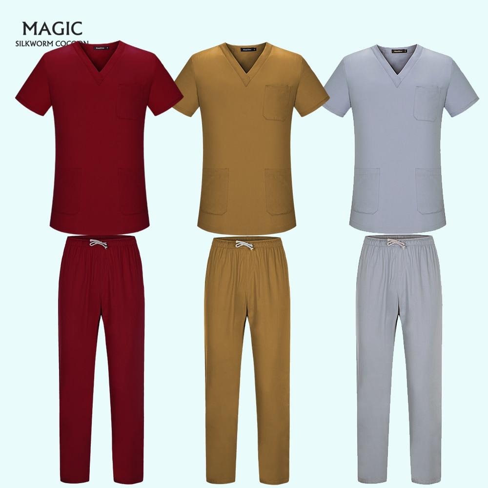 New Unisex Adults Medical Doctor Nursing Scrubs Costume Uniform Tops V-neck Short Sleeves Tops And Elastic Waisted Long Pants