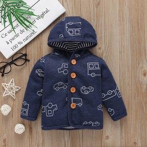 Image 3 - Zestaw ubranek dla chłopca jesień strój noworodka zima odzież dla niemowląt 2020 z długim rękawem z kapturem płaszcz + body + spodnie moda dla dzieci 6 24M