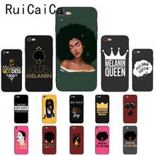 Melanin Poppin Queen Afro Black Girl Magic rock Cool Soft black Phone Case for iPhone8 7 6 6S 6Plus X XS MAX 5 5S SE XR(China)