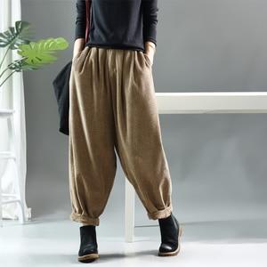 Image 2 - Women Pants Autumn Winter Large size Corduroy Loose Trousers 2019 New Elastic Waist pocket Casual Ladies Fashion Pants