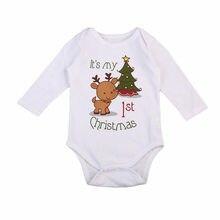 Милый комбинезон с рождественским оленем для маленьких девочек и мальчиков, комбинезон, одежда на Рождество