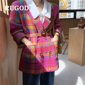 RUGOD Fashion Bright Pink Green Plaid Knitted Coat Women Elegant Notched Collar Double Breasted Long  Jacket Autumn Winter Coat