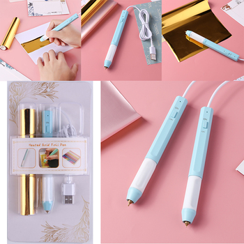 Set Sale Usb Powered Heat Foil Pen Two Sizes for Hot Stamping Foil Paper Scrapbooking Diy Paper Cards Craft New 2020 merry christmas words flower stripe hot sell hot foil plates for scrapbooking diy paper cards crafts decoration new 2019