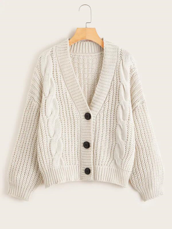 Autumn And Winter Sweaters Solid Color Long-sleeved Twisted Rope Thick Twist V-neck Loose Cardigan Sweater Women 's Clothin