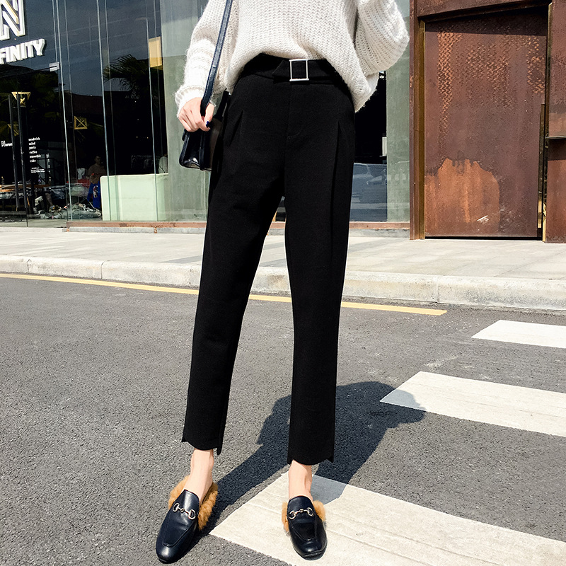 # Woolen Harem Pants Women's Autumn And Winter Loose-Fit Korean-style 2018 High-waisted Slimming Beige Capri Skinny Bud Radish