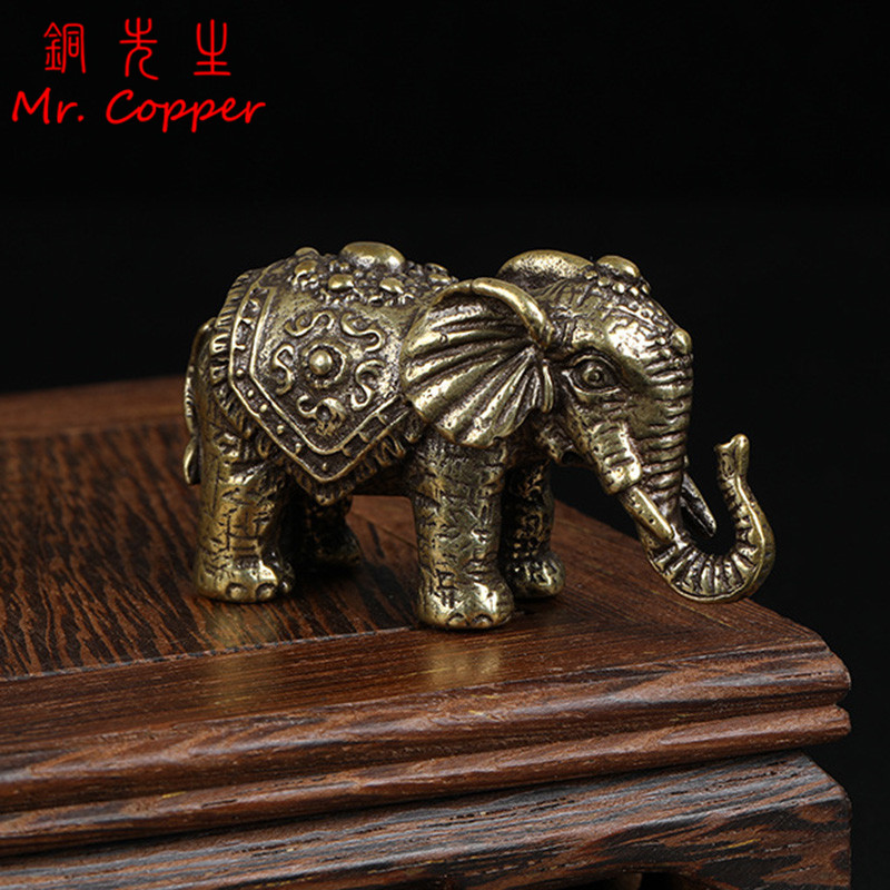 Solid Copper Lucky Elephant Small Ornaments Brass Blessing Elephants Miniature Figurine Antique Bronze Animal Statue Craft Decor