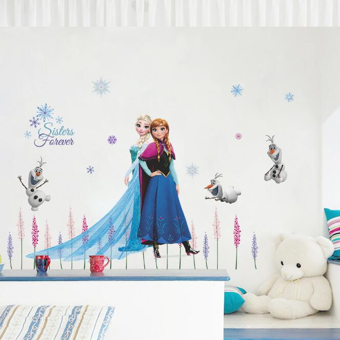 Genuine Disney Frozen Elsa Anna Cute Dog Cartoon Game 3D Wall Sticker For Kids Room Mural Poster Home Decor Wall Decal Poster