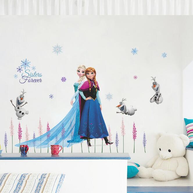 Genuine Disney Frozen Elsa Anna Cute Dog Cartoon Game 3D Wall Sticker For Kids Room Mural Poster Home Decor Wall Decal Poster