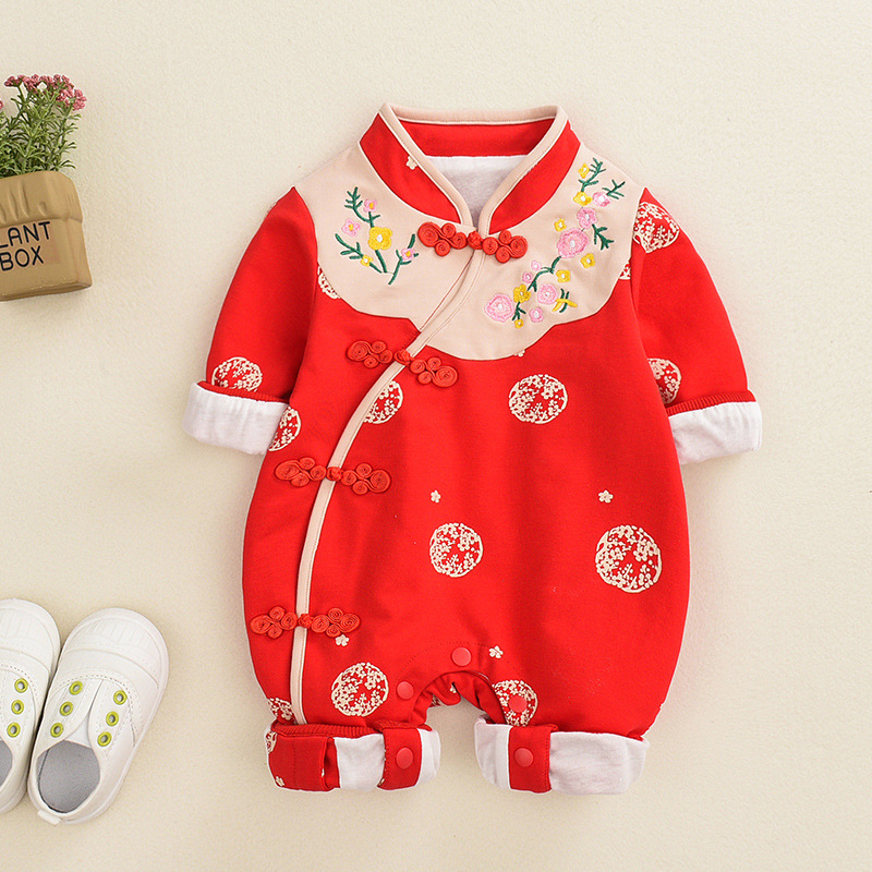 2019 Newborn <font><b>Baby</b></font> Clothes Chinese Style <font><b>Baby</b></font> <font><b>Romper</b></font> <font><b>Unisex</b></font> <font><b>Baby</b></font> <font><b>Rompers</b></font> Clothing Set Jumpsuit Ifant Toddler Newborn Outfits image