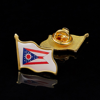 USA State of Ohio National Waving Emblem Flag Lapel Pins Brooch Badge Accessories image