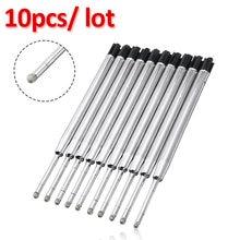 10 pçs de aço inoxidável preto esferográfica caneta tinta recargas ponto fino médio para todos parker estilo rolo bola caneta
