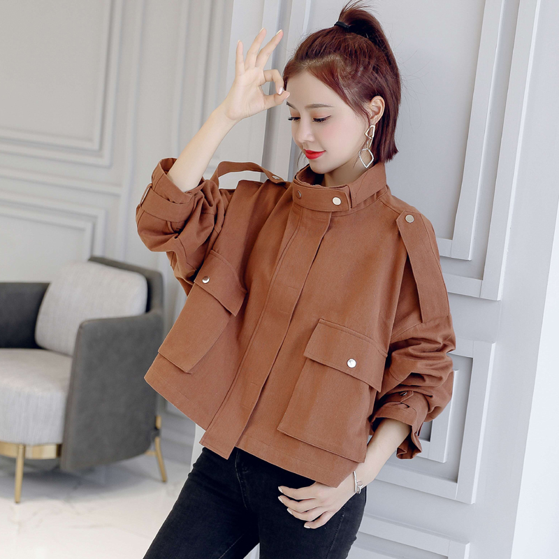 Winter Women Jacket Short Women's Windbreaker Tooling Jacket Female Loose Casual Pocket Coat 3