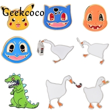 J1187 Geekcoco Cartoon Dinosaur Duck Animals Pin Brooches Funny Badges Lapel Pins Funny Jewelry Pins Collection j1221 geekcoco cartoon cat animals pin brooches anime doraemon badges lapel pins funny jewelry pins collection