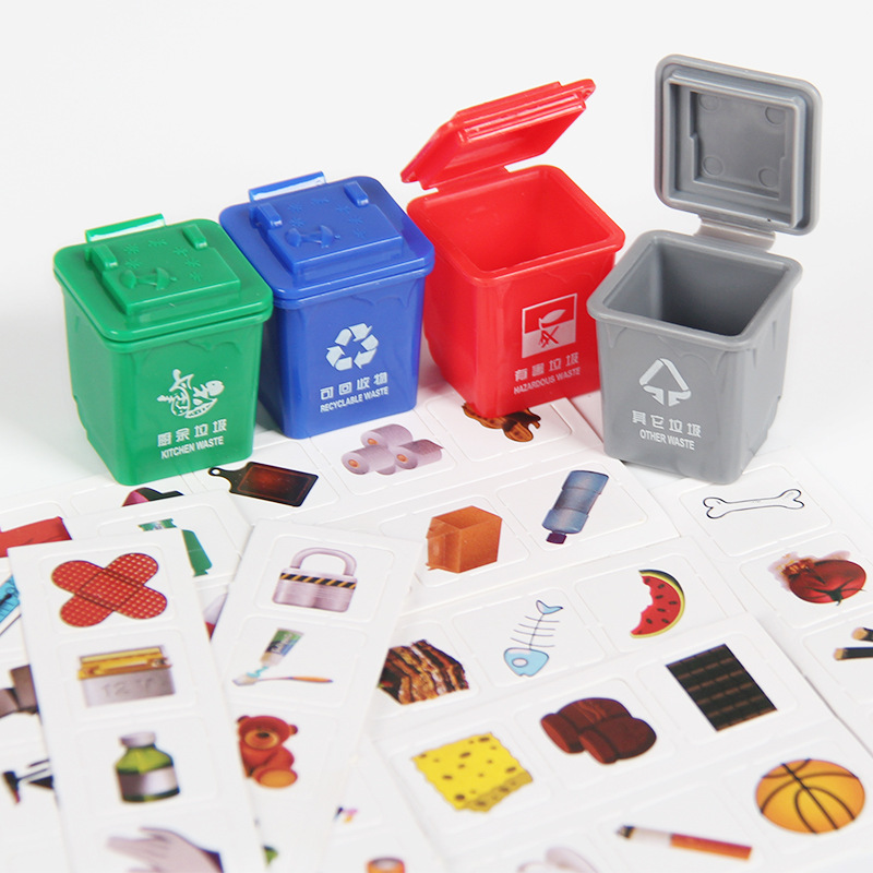 Shaking The Same Paragraph Garbage Classification Toy Trash Can Early Education Teaching Aid Knowledge Game Mini Trash Can