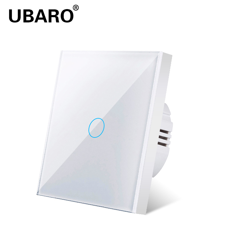 UBARO Touch Switch EU Standard White Crystal  Glass Panel Light Switch Ac230v Switch 1Gang Single Control Wall Lamp Touch Switch