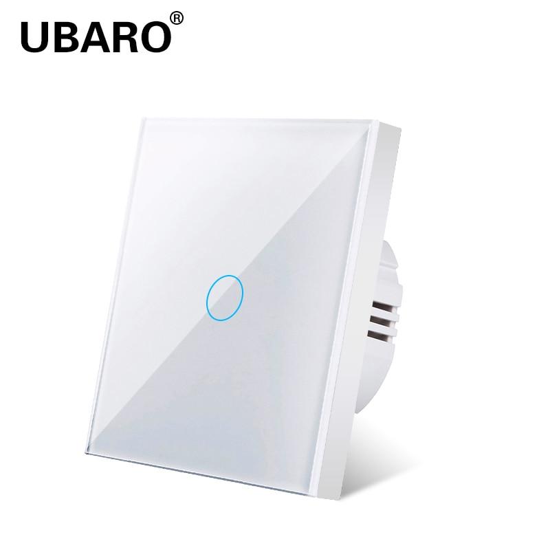 UBARO interrupteur tactile panneau de lumière | standard ue blanc en verre de cristal, interrupteur Ac230v interrupteur 1gang 1 voie, lampe murale, interrupteur tactile