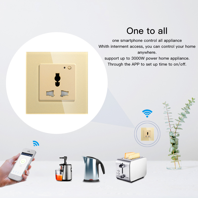 Universal WiFi Smart Wall Socket 13A Outlet Glass Panel French APP Remote Control Works with Amazon Echo Alexa Google Home in Smart Power Socket Plug from Consumer Electronics