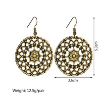 Bohemian Earing Round Hollow Vintage Drop Women Gold Retro Ethnic Style Carved Boho Earrings Jewelry Gifts Fashion 2019