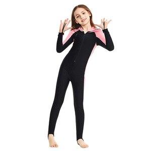 Image 5 - SBART traje de buceo de cuerpo completo para niños, Surf con capucha, esnórquel, natación de manga larga, traje de baño de una pieza para niño y niña, traje de buceo UV H