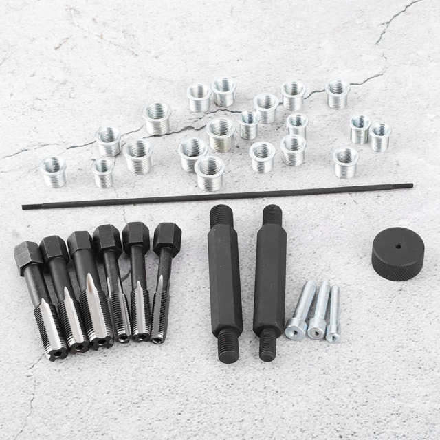 Overseas 33pcs Glow Plug Thread Repair Kit Tap Insert Driver Guide Pin Thread Insert Tool Set Glow Plug Insert Driver New