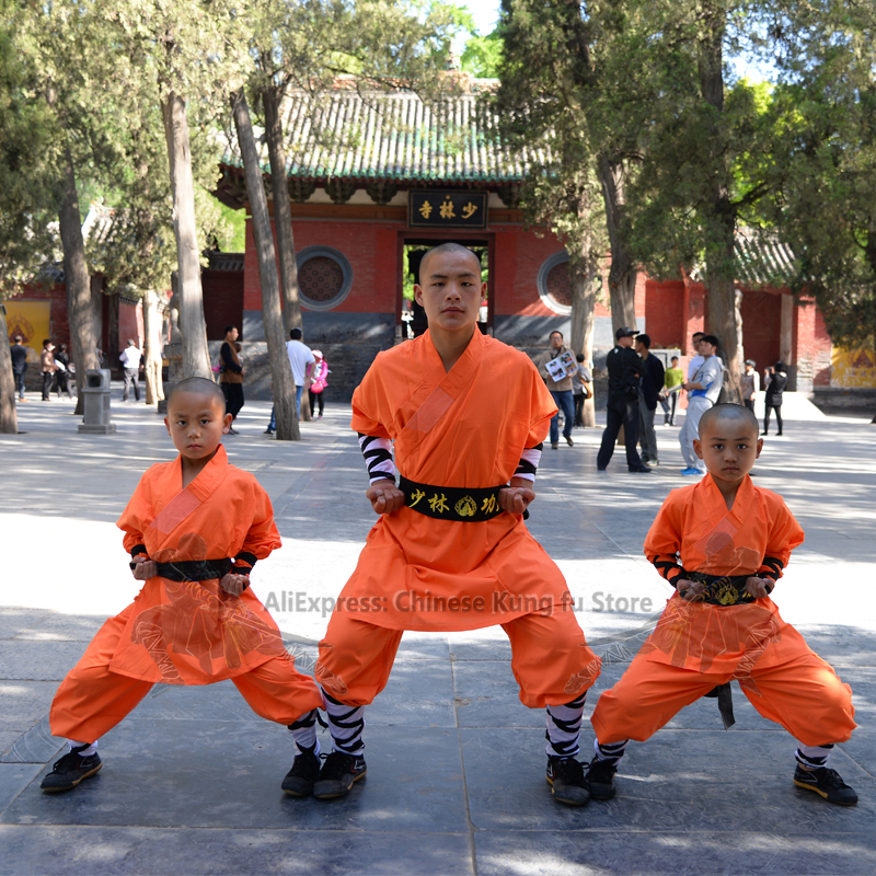Orange Cotton Shaolin Monk Robe Kung Fu Suit Kids Adults Wushu Performance Uniform Tai Chi Wing Chun Set