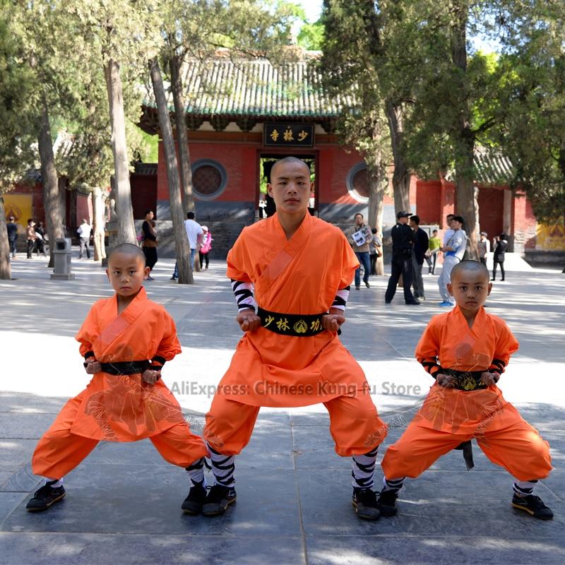 Orange Cotton Shaolin Monk Robe Kung Fu Suit Kids Adults Wushu Performance Uniform Tai Chi Wing Chun Set