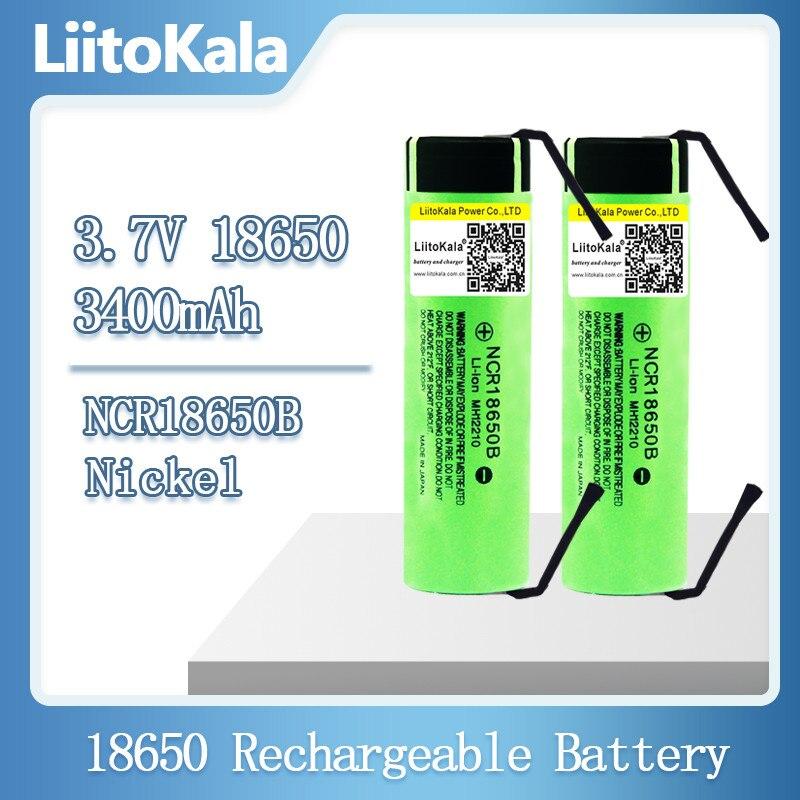 LiitoKala Новый Оригинальный NCR18650B 3,7 В 3400 мАч 18650 аккумуляторная литиевая батарея + никелевый элемент «сделай сам»