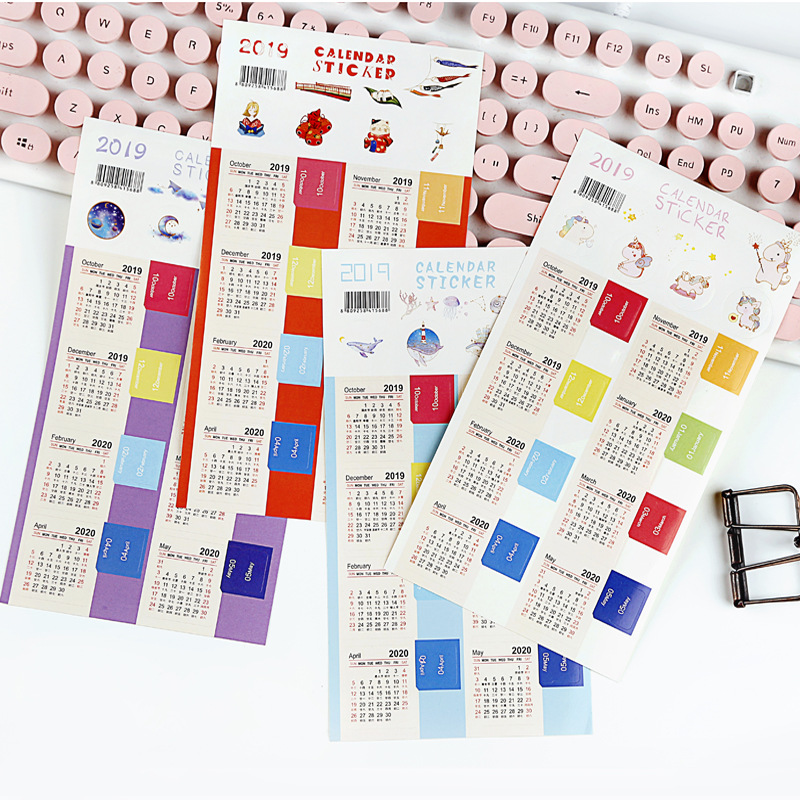 Calendar Stickers For Planners, Notebooks, Journals, 2019-2020 Planners Monthly Index Tabs, 15-months(2019.10-2020.12)